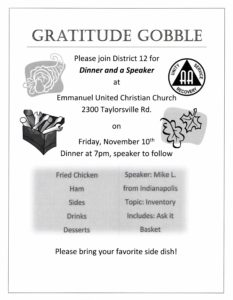 District 12 Gratitude Gobble @ Emmanuel United Christian Church | Louisville | Kentucky | United States