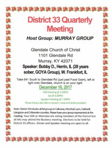 District 33 Quarterly Meeting @ Glendale Church of Christ | Murray | Kentucky | United States