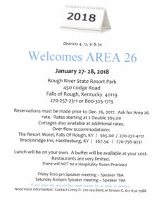 Area 26 Meeting @ Rough River Dam Resort | Falls of Rough | Kentucky | United States