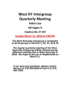 West KY Intergroup Quarterly Meeting @ REBOS Club | Hopkinsville | Kentucky | United States