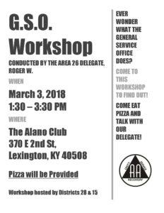 Lexington GSO Workshop @ Alano Club