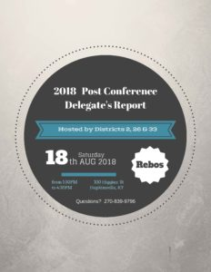 Post Conference Delegate's Report – Hopkinsville @ Rebos Club