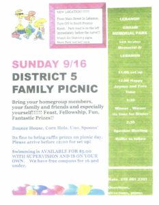 District 5 Family Picnic @ Gram Memorial Park
