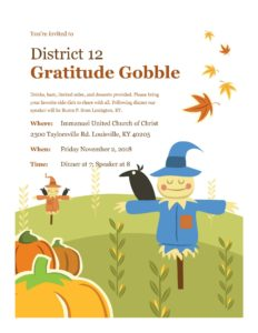 District 12 Gratitude Gobble @ Immanuel United Church of Christ