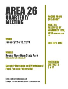 Area 26 January Meeting @ Rough River Dam Resort