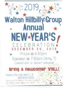 Walton Hillbilly Group Annual 2019 New Year's Party @ Walton Christian Church