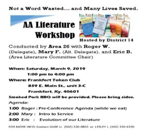 AA Literature Workshop @ Frankfort Token Club