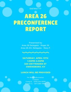 District 17 Preconference Report @ 320 Club